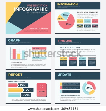 set infographic presentation template powerpoint business stock