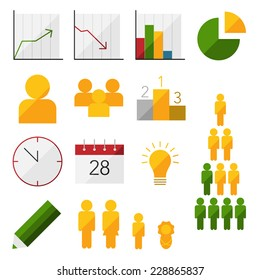 Set of infographic and statistic flat icons in color.