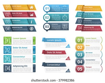 Set of infographic templates with numbers and text, business infographics elements set, vector eps10 illustration