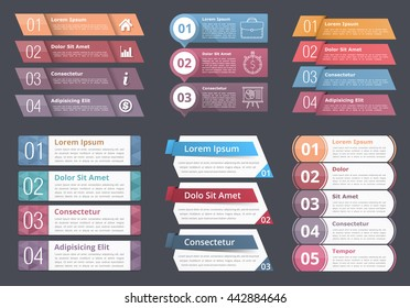 Set of infographic templates with numbers and text, process, flow chart design elements, business infographics, vector eps10 illustration