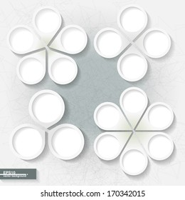 Set of infographic templates with three, four, five and six white paper labels. Eps10