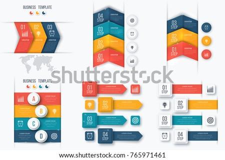 Set Infographics Data Information Visualization Template Stock