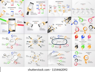 Set of infographics element with hand holding colorful circle box and mobile phone. Charts for business presentation with copy space on grey background
