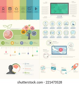 Set of infographics elements for business presentation templates.