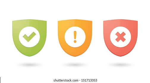 A set of informatic protection shield icons