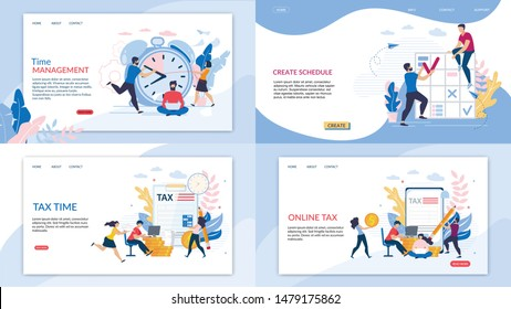 Set Informational Banner Online Tax Lettering. Flyer Inscription Time Management, Create Schedule, Tax Time.  Office Workers, Men and Women in Hurry to Complete their Work in Allotted Time.