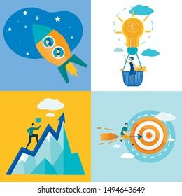 Set Informational Poster Movement Towards Goal. Formulation Expectations Regarding Improvement Indicators.  Girl Flies in Basket, Instead Balloon, Glowing Light Bulb. Vector Illustration.