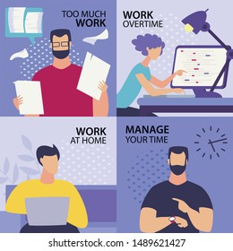 Set Informative Flyer Inscription Too Much Work. Banner Written Work Overtime, Work at Home, Manage your Time. Office Worker Labor.  Man goes Through Documents. Vector Illustration.