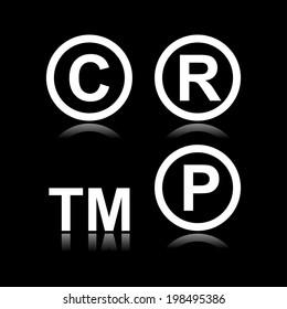 Set of infringement symbols in black background
