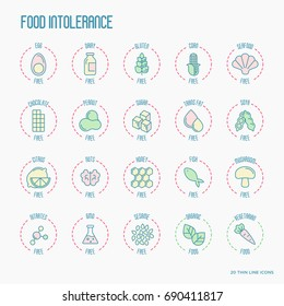 Set of ingredient warning label icons. Food intolerance. Common allergens gluten, lactose, soy, corn and more, sugar and trans fat, vegetarian and organic symbols. Vector thin line illustration.