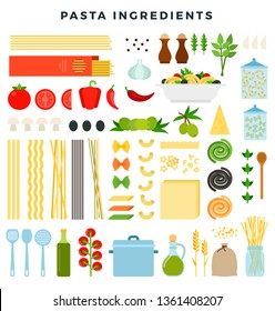 Set of ingredients for making pasta. Different forms of pasta, products and kitchen utensils for cooking. Vegetables, cheese, oil, olives, spices, sauces, , other ingredients. Vector illustration.
