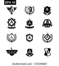 Set of Initial Letter A Black Logo with Shield Design Template Element
