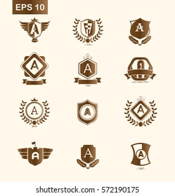Set of Initial Letter A Brown Logo with Shield Design Template Element