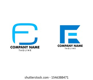 Set of Initial Letter CF Logo Template Design