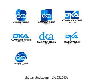 Set of Initial Letter DKA Logo Template Design