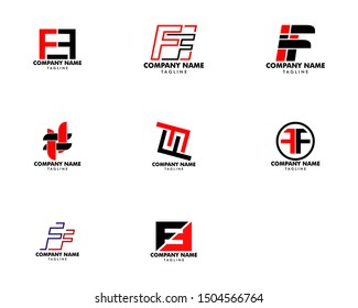 Set of Initial Letter FF Logo Template Design