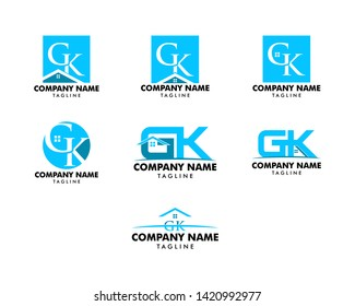 Set of Initial Letter GK House Logo