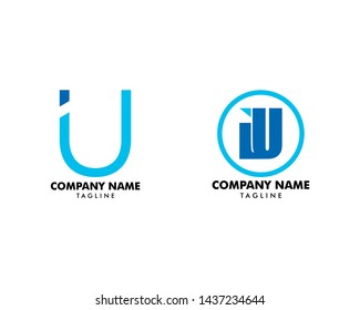 Set of Initial Letter IU Logo Template Design