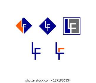 Set of Initial Letter LF Logo Template Design