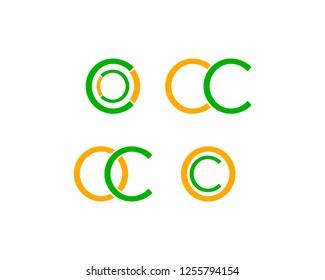 Set Of Initial Letter OC Logo Design Template