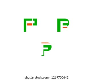 Set of Initial Letter PF Logo Template Vector Design