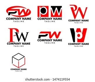 Set of Initial Letter PW Logo Template Design