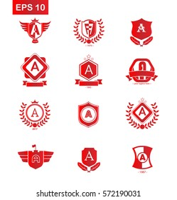 Set of Initial Letter A Red Logo with Shield Design Template Element