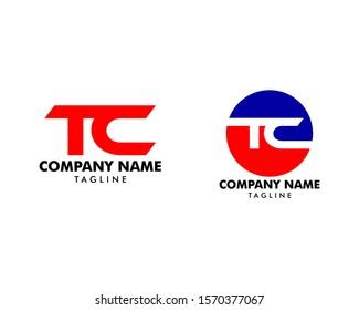Set of Initial Letter TC Logo Template Design