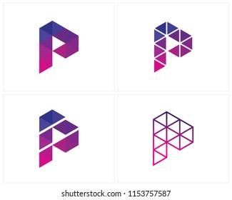 Set of Initial P logo design template, P logo vector