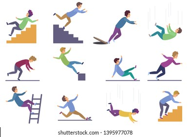 Set of injuring people falling down the stairs and over the edge, ladder, drop from the altitude, wet floor falling, stumbling on the sewer hall, tripping on stairs isolated on white background.