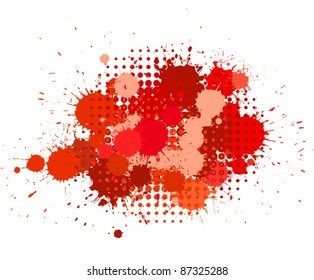 Set of ink blots and halftones patterns in red colors