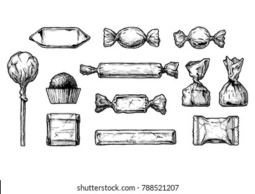 set of ink drawing candy. illustration in vintage engraved style. isolated on white background.