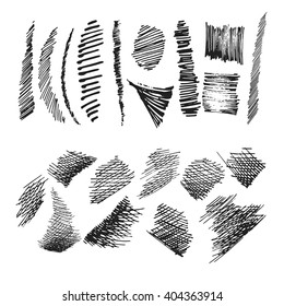 Set of ink hand drawn hatch texture. Collection of vector ink lines, points, hatching, strokes. Isolated white backgrounds.Thin modern line