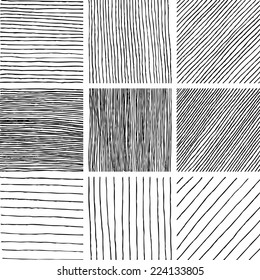 Set of ink hand drawn textures. Lines with different density and incline. Hatching drawn with pen. Abstract background. Vector design elements