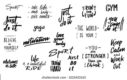 set of ink lettering phrases, hand drawn quotes, motivational quotes