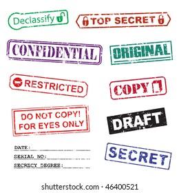 Set of ink stamps for a secret documents