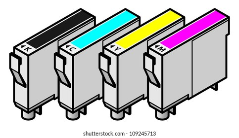 A set of inkjet printer cartridges - individual tanks of cyan, yellow, magenta and black - for 4-colour CMYK printing.