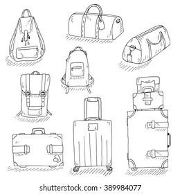 Set of inky hand drawn travel bags. Travel bags and backpacks isolated on white. Linear style bags vector. Black and white isolated travel bags for label, stickers, prints, etc.