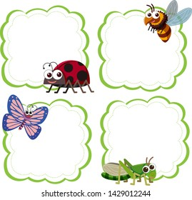 Set of insect note template illustration