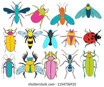 set of insects character, ladybug, beetle, ant, bee