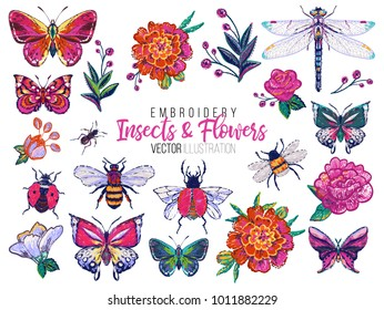 Set of insects and flowers embroidery elements: marigold rose, dragonfly, ant, butterfly, honey bee, ladybag, flower bug. Fashion patch watercolor style illustration isolated on white background.