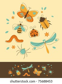 Set of Insects in Retro-Styled