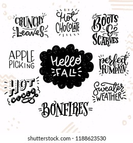 Set of inspirational autumn hand lettering quotes. Cute and cozy fall woods and phrases. Vector illustration.