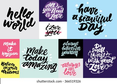 Set Inspirational Motivational Quotes All You Stock Vector Royalty