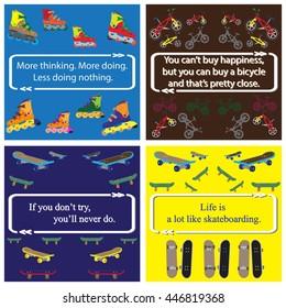 Set of inspirational quote on bikes, skates, fingerboard pattern for children.