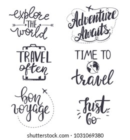 "Set of inspirational travel quotes. Translation of the phrase ""bon voyage"" - ""good trip""."
