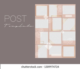Set of instagram collage.Vector cover. Design backgrounds for social media banner.Set of  Instagram stories frame templates. Mockup for social media. Endless square pink puzzle layout for promotion.
