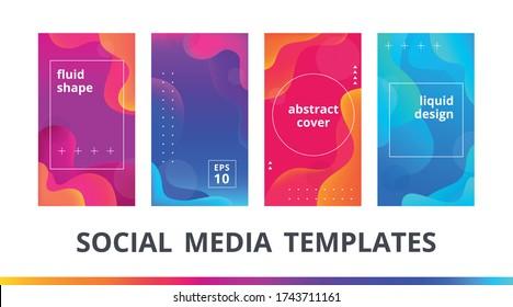 Set of instagram stories frame and post editable templates. Сolorful gradient mockup with fluid shape for personal blog or shop, social media banner. Liquid design backgrounds. Vector illustration