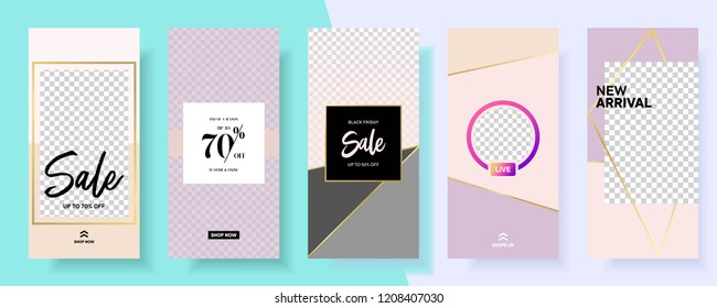 set of Instagram stories sale banner background, instagram template photo, year end sale can use for, backdrop, website, mobile app, poster, flyer, coupon, gift card, smartphone template, banner
