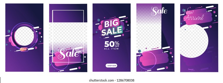 set of Instagram stories sale banner background, instagram template photo, year end sale can use for, website, mobile app, poster, flyer, coupon, gift card, smartphone template, web design